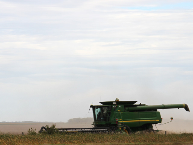 Early-week dry conditions allowed for beginning soybean harvest in South Dakota. Progress will be limited, though, with rain indicated for the northwest Corn Belt during the next week. (DTN photo by Elaine Shein)