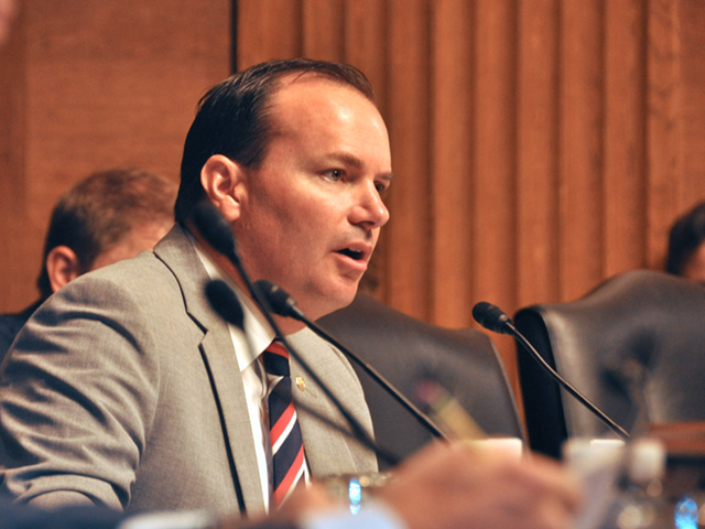 Sen. Mike Lee, R-Utah, asks questions Tuesday during a Senate Judiciary Committee hearing on consolidation in the seed and agro-chemical industry. (DTN photo by Emily Unglesbee)