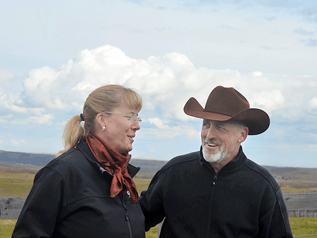 Cherie Copithorne-Barnes (left) and David Sibbald ranch in Alberta. Both are concerned federal carbon taxes could deal Canada's cattle producers a serious financial blow. (DTN photo by Victoria G. Myers)