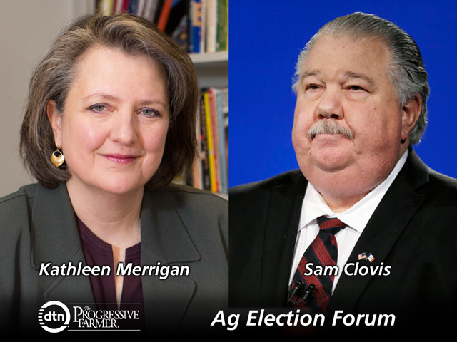 A forum hosted by the Farm Foundation on Wednesday included Kathleen Merrigan (left), former deputy secretary of USDA in the first Obama administration, who represented Democrat Hillary Clinton, and Sam Clovis, an Iowan who is co-chair of Republican Donald Trump's national campaign. (Courtesy photos)