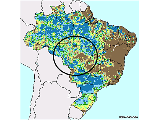 Rainfall in the largest soybean-growing state of Brazil, Mato Grosso, is mostly either at or well-above normal for the season to date. (USDA graphic by Scott R Kemper)