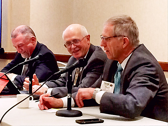 Agriculture interest groups discuss post-election agriculture policy Wednesday at the National Association of Farm Broadcasting convention in Kansas City, Missouri. Pictured from left to right: Jon Doggett, National Corn Growers Association; Bob Young, American Farm Bureau Federation; and Roger Johnson of the National Farmers Union. (DTN photo by Todd Neeley)
