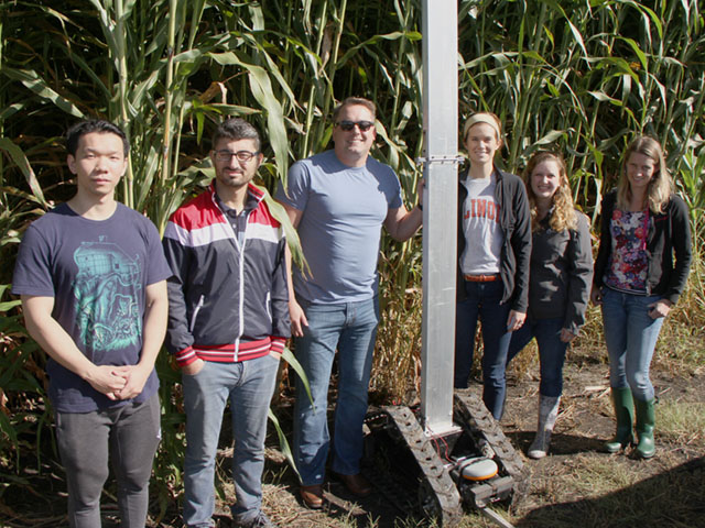 Esther, the robot, is the brainchild of this team at the University of Illinois. The machine gathered information on energy sorghum this season. (DTN photo by Pamela Smith)