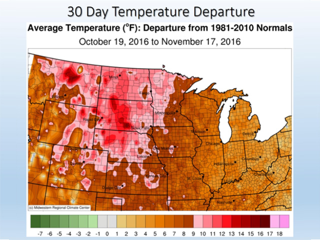 Mid-October to mid-November average temperatures in the central U.S. ranged from 5 degrees Fahrenheit above normal to a whopping 15 to 20 F degrees above normal. (MRCC graphic by Nick Scalise)