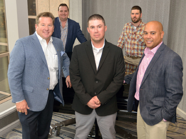 Pictured are the 2016 DTN/the Progressive Farmer Best Young Farmers and Ranchers Program honorees. Front row, left to right: Marty Wooldridge, JR Shannon, Angelo Erickson, Adam Winkelman, Lamont Bridgeforth (DTN/The Progressive Farmer photo by Jim Patrico)