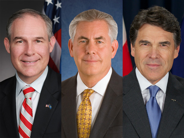 From left, EPA Administrator nominee Scott Pruitt, Secretary of State nominee Rex Tillerson and Energy Secretary Nominee Rick Perry have each battled against the Renewable Fuels Standard in different ways.