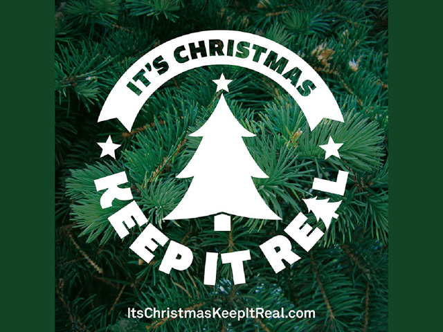 "The Christmas Tree Promotion Board uses the logo ""It's Christmas Keep It Real"" in its social media campaign. (Logo courtesy of the Christmas Tree Promotion Board)"