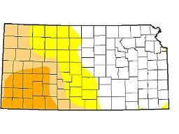 Moderate to severe drought conditions cover more than half of the wheat areas in Kansas. (U.S. Drought Monitor graphic)