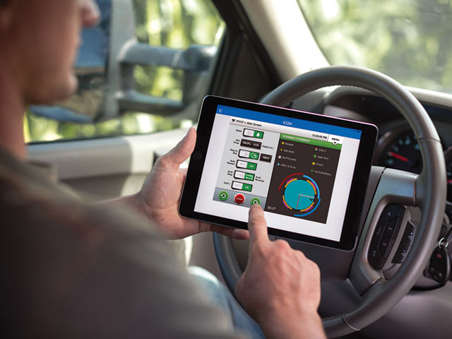 The ICON10 control panel features a touchscreen interface for ease of use. Users can take control of some ICON models without leaving their pickups. (Photo courtesy of Valley Irrigation)
