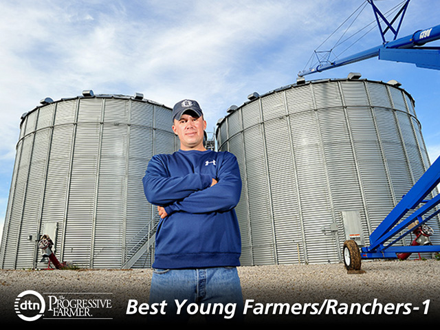 Angelo Erickson and his father farm more than 8,000 acres combined. They produce about 1 million bushels of white corn sold to tortilla and snack-food manufacturers in the U.S. and Mexico. (DTN/ The Progressive Farmer image by Jim Patrico)
