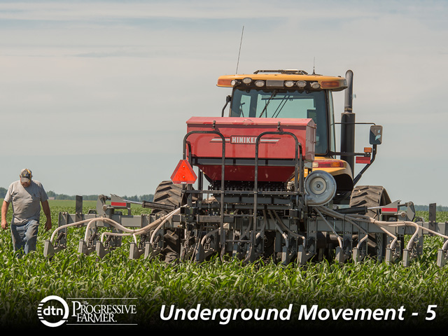 The interseeder double-injects seed between each row. The single gang on each end of the toolbar doubles back in the same row on a round. (DTN/The Progressive Farmer image by Tom Dodge)