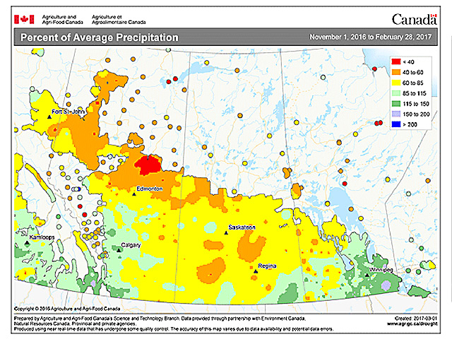 The most recent look at percent of average precipitation on the Canadian Prairies shows southern Manitoba and southeastern Saskatchewan at risk for spring floods. (Graphic courtesy of Agriculture and Agri-Food Canada)