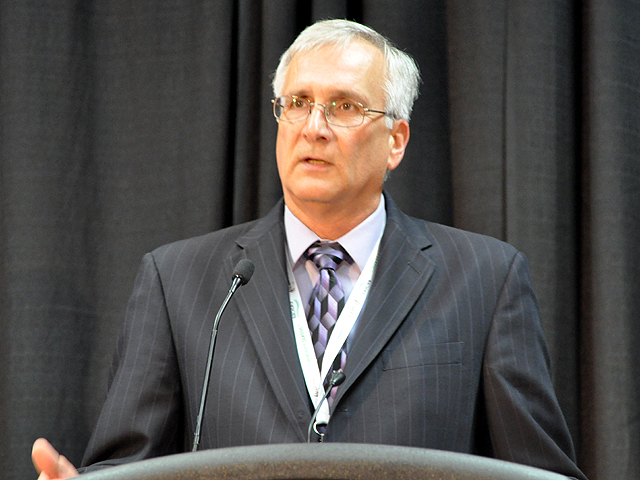 Ron Moore, president of the American Soybean Association and a farmer from western Illinois, said the ASA wants to see funding double for the Market Access Program and Foreign Market Development Program. Moore spoke Thursday at Commodity Classic in San Antonio, Texas. (DTN photo by Chris Clayton)