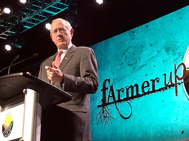 House Agriculture Committee Chairman Mike Conaway, R-Texas, told thousands of farmers at Commodity Classic in San Antonio on Friday that he is determined to get a farm bill passed for them on time. (DTN photo by Chris Clayton)