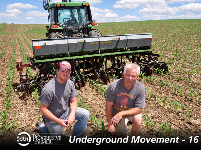 Bryce and Brian Irlbeck modified a John Deere Model B Van Brunt drill to interseed a cover crop between 30-inch rows of a young corn crop. (DTN/The Progressive Farmer photo by Lynn Betts)