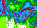 The U.S. forecast model March 23 has seven-day rainfall totals of 2 inches or higher for almost the entire southwestern Plains -- including the Texas Panhandle. (NOAA graphic by Nick Scalise)