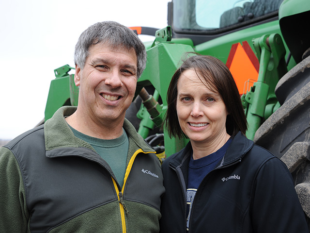 Brent and Lisa Judisch of Cedar Falls, Iowa, are one of two farm families being featured in DTN's 2017 View From the Cab column. (DTN photo by Pamela Smith)