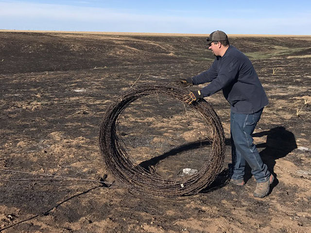 Thousands of miles of fence in the Southern Plains were destroyed by wildfires that decimated the region in early March. Experts believe it could cost producers $10,000 a mile to replace. (Photo courtesy of Andrew Winger)