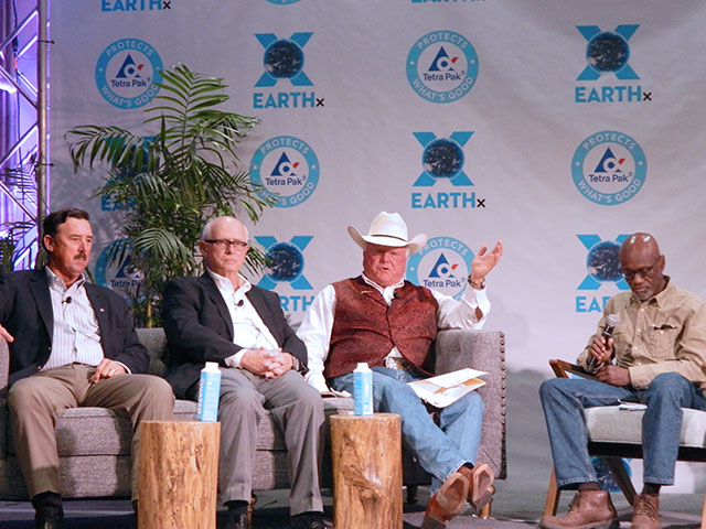 Some ag leaders in Texas spoke Saturday about the prospects of a farm bill as part of Earth Day Texas. From left to right, Russell Boening, president of the Texas Farm Bureau Federation; Bob Young, chief economist for the American Farm Bureau; Sid Miller, Texas Agriculture commissioner; and Greg Davis, a retired Dallas radio broadcaster who moderated the panel discussion. (DTN photo by Chris Clayton)