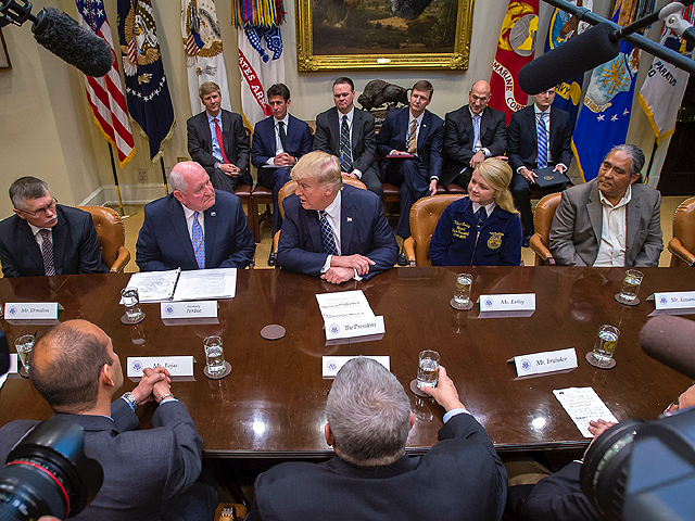 U.S. Secretary of Agriculture Sonny Perdue (second from left) joined President Donald Trump on Tuesday for a Farmers Roundtable at the White House to discuss improving American agriculture. (USDA photo by Preston Keres)