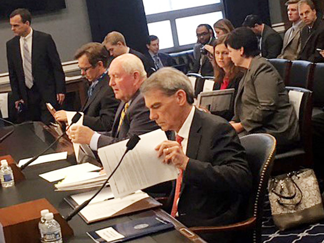From left, USDA Chief Economist Robert Johansson, Agriculture Secretary Sonny Perdue and USDA Budget Director Mike Young testify Wednesday before the House Agriculture Appropriations Subcommittee. (DTN photo by Jerry Hagstrom)