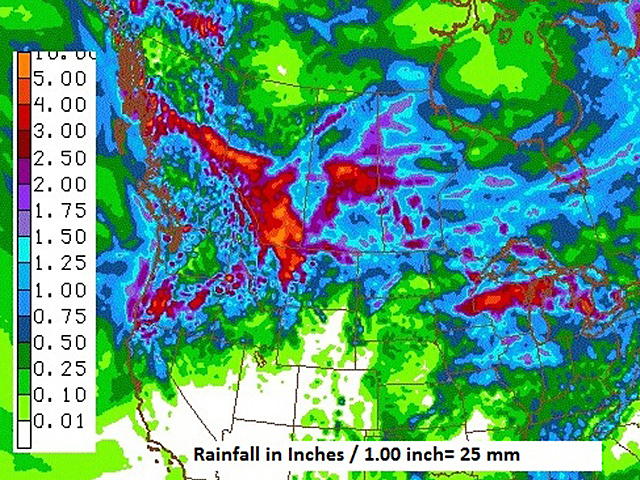 Rainfall totals over the next week of moderate to locally heavy intensity would be welcome in the eastern half of the Canadian Prairies. (NOAA graphic by Scott R Kemper)
