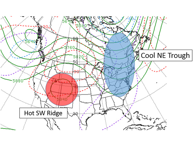 The southwest ridge-northeast trough upper air pattern on the U.S. forecast model through the July 14-15 timeframe suggests a very warm to hot and dry trend for the Western Corn Belt. (NOAA Climate Prediction Center graphic by Scott R Kemper)