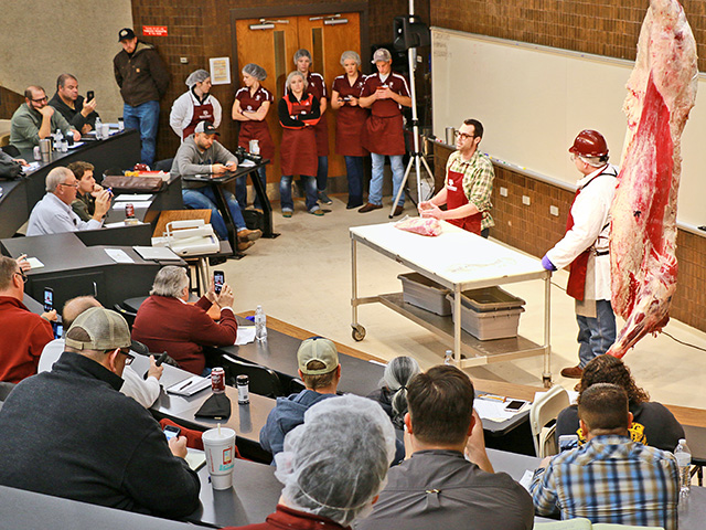 Instructors explain the anatomy of a brisket to camp participants.(DTN/Progressive Farmer photo courtesy of Jeff Savell, Texas A&M)