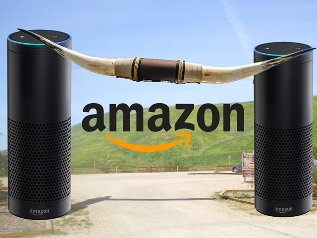 In the future, perhaps Alexa can help steer cattle sales in the right direction. (Horns by lorenkerns, CC BY 2.0; Victory Gateway at Upper Los Virgenes by Cbl62, CC BY-SA 3.0; Amazon images courtesy Amazon; DTN illustration by Nick Scalise)
