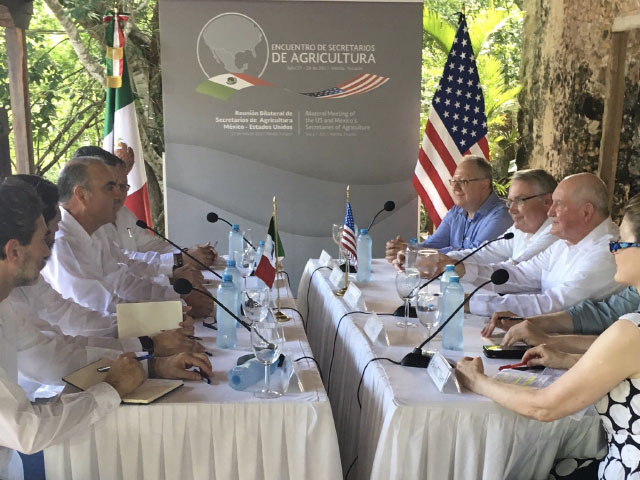Agriculture Secretary Sonny Perdue and others from the U.S. delegation, on the right, meet with Mexico Agriculture Secretary Pepe Calzada and others from the Mexican delegation in Mexico on Thursday. (Photo courtesy of USDA)