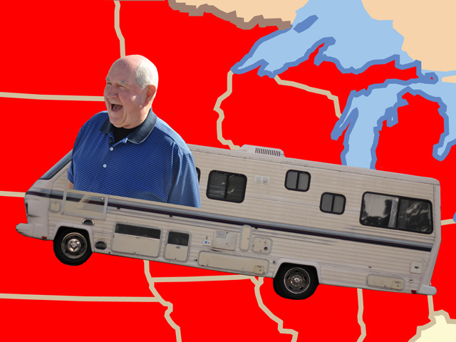 Agriculture Secretary Sonny Perdue is taking an RV on a farm-bill road trip this week. (Sonny Purdue by Chris Clayton, RV by timquijano (CC BY 2.0), Illustration by Nick Scalise)