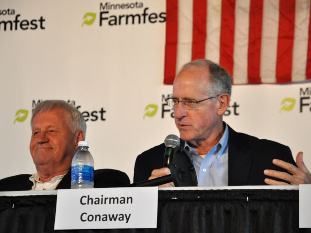 House Agriculture Committee Ranking Member Collin Peterson, D-Minn., (left) and Committee Chairman Mike Conaway, R-Texas, open up a farm bill listening session at Farmfest in Morgan, Minnesota, on Thursday. (DTN photo by Chris Clayton)