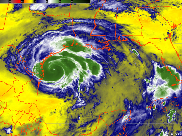 Enhanced water vapor imagery from the GOES-16 satellite shows intense pooling of moisture as Harvey makes its way toward landfall on the south Texas coast. (NOAA image by Nick Scalise)