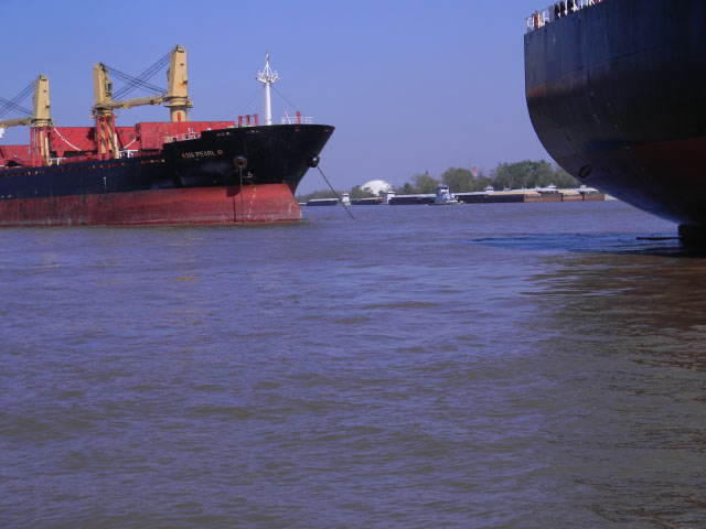 These barges and ships pictured on the Mississippi River near Destrehan, Louisiana, north of Baton Rouge, have not yet been affected by Tropical Storm Harvey. However, as a result of the storm, the Houston/Galveston and Corpus Christi ports are in