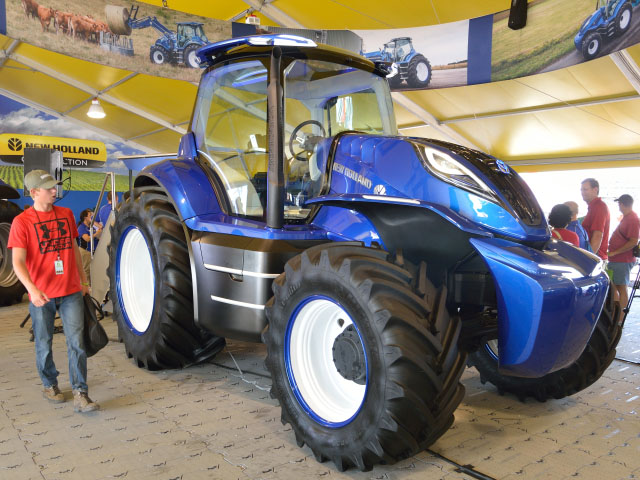 The new methane-powered tractor drew crowds to the New Holland booth at the Farm Progress Show in August. (DTN/The Progressive Farmer photo by Jim Patrico)