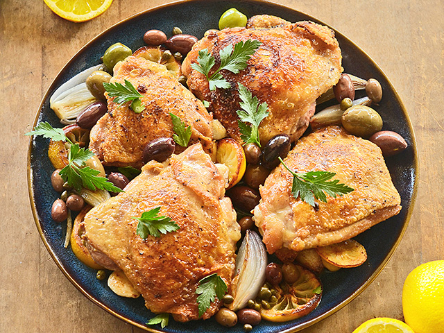 Inexpensive chicken thighs are paired with lemon and olives for this easy weeknight meal that pairs well with herbed rice and crusty bread. DTN/Progressive Farmer image by Rachel Johnson)