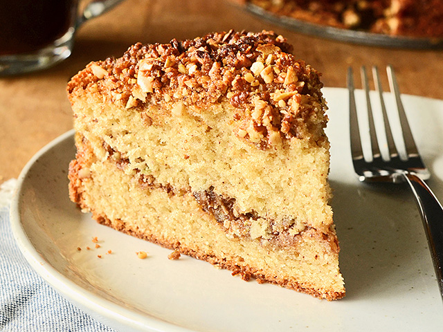 A toasty pecan topping adds crunch and warmth to this cake, while the pumpkin pie spice combines cinnamon, ginger, nutmeg and cloves for an easy flavor combination.  (DTN/Progressive Farmer image by Rachel Johnson)