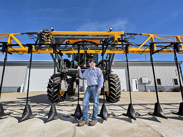 Greg Carson moved away from anhydrous to in-season N applications using a Hagie equipped with Y-Drops. (DTN/The Progressive Farmer photo by Mark Tade)