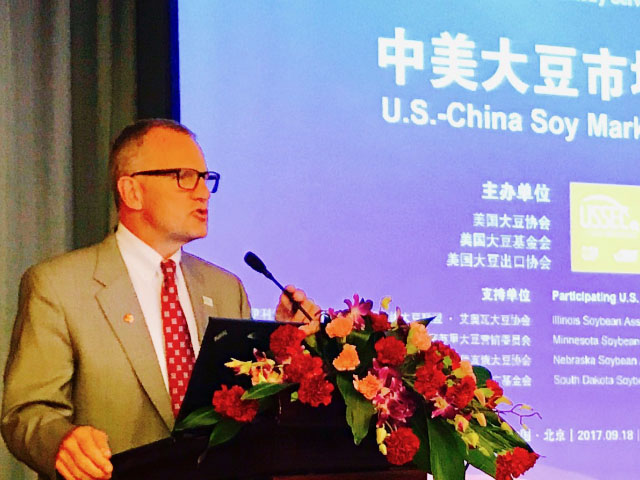 U.S. Soybean Export Council CEO Jim Sutter said the organization drew up a plan to replace Chinese demand by expanding current markets and building up new ones. (DTN File Photo by Lin Tan)