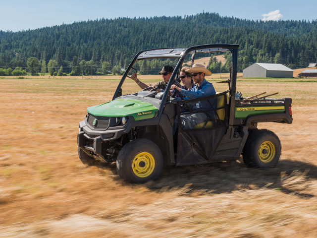 John Deere enters the three-wide seating category for the first time with the Gator XUV835 and Gator XUV865. (Photo courtesy John Deere)