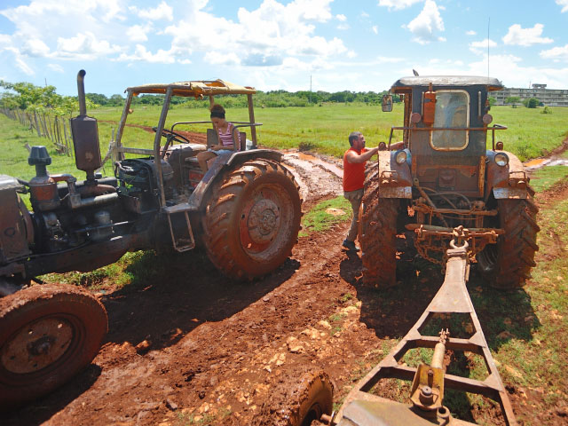 Cuban farmers could certainly use some new tractors. These relics on a farm south in the village of Melena del Sur are typical of the tractors Cubans have kept running since the U.S. embargo started more than 60 years ago. (DTN/The Progressive Farmer photo by Jim Patrico)