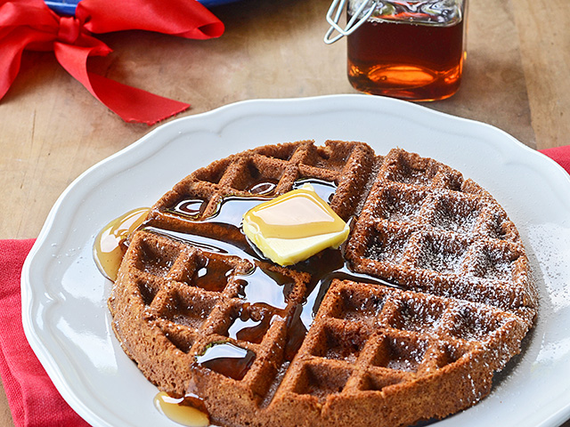 Dark, spiced gingerbread batter is spooned into a hot waffle iron for a new take on breakfast. Serve with warm syrup or whipped. (Progressive Farmer image by Rachel Johnson)