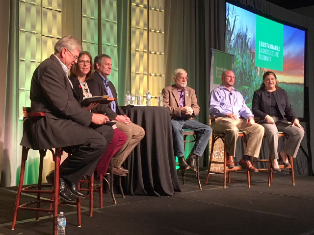 A panel of award-winning producers representing rice, pork, beef, poultry and dairy sectors talk about practices on their farm at the Sustainable Agriculture Summit in Kansas City, Missouri. (DTN photo by Chris Clayton)