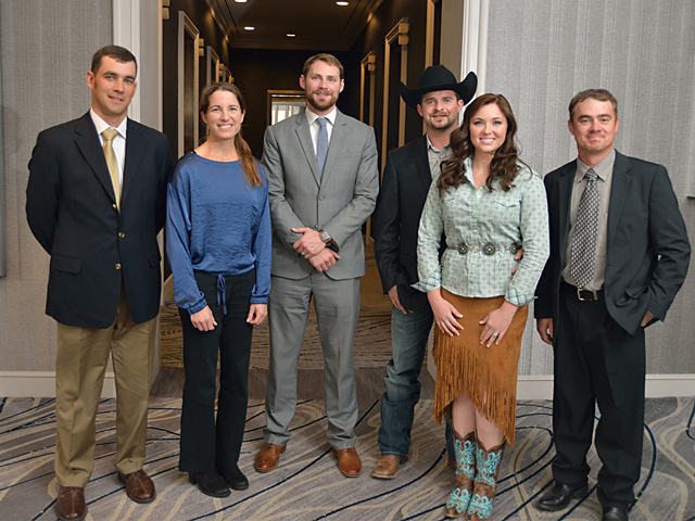 The 2018 Best Young Farmers and Ranchers Program honorees are (from left to right): Adam Wilson, Jamie Blythe, Quint Pottinger, Tyler and Page Turecek, and Wade Wilhour. (DTN/The Progressive Farmer photo by Jim Patrico)
