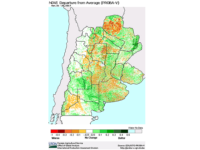 Argentina vegetative index values show a marked decline relative to average, mainly due to dry conditions as southern hemisphere midsummer approaches. (Graphic courtesy of USDA FAS)