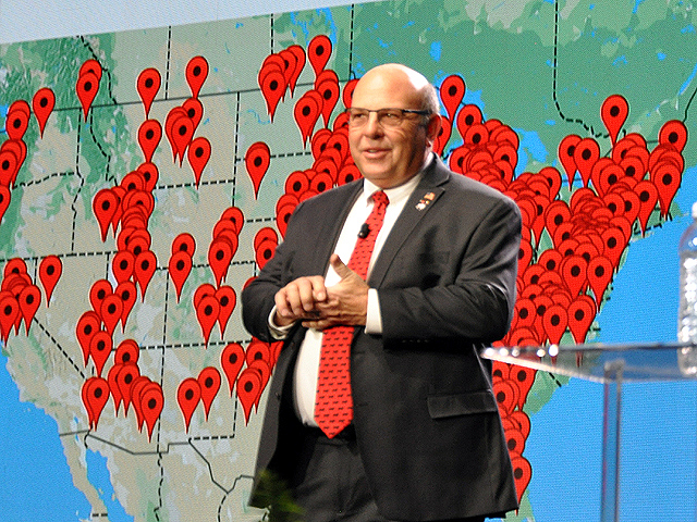 American Farm Bureau Federation President Zippy Duvall stood in front of a map of social media imprints during the AFBF annual convention; he encouraged Farm Bureau members to pull out their cell phones and send more than 1,000 social media messages for President Donald Trump to recognize the importance of trade to farmers. (DTN photo by Chris Clayton)