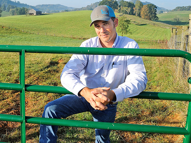 Adam Wilson runs 300 cows on his operation, outside Abingdon, Virginia. As he is able to improve his stocking rate, he plans to increase the size of Wilson Farms. (Progressive Farmer photo by Jim Patrico)