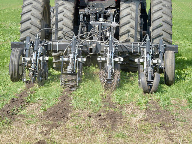 A Twin Diamond strip-till implement demonstrates four types of closing wheels. (DTN/The Progressive Farmer photo by Susan Winsor)