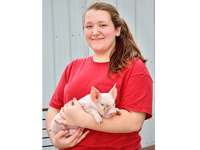 Shelby Schmitt, an animal science major at Purdue University, worked with sows and piglets as an intern for Legan Livestock and Grain, in Coatesville, Indiana. (DTN/The Progressive Farmer photo by Des Keller)
