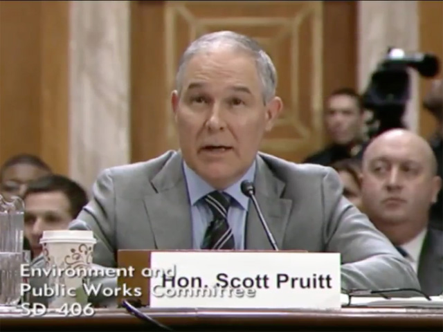 U.S. Environmental Protection Agency Administrator Scott Pruitt made his first appearance before the U.S. Senate Environment and Public Works committee on Tuesday. (YouTube screenshot)